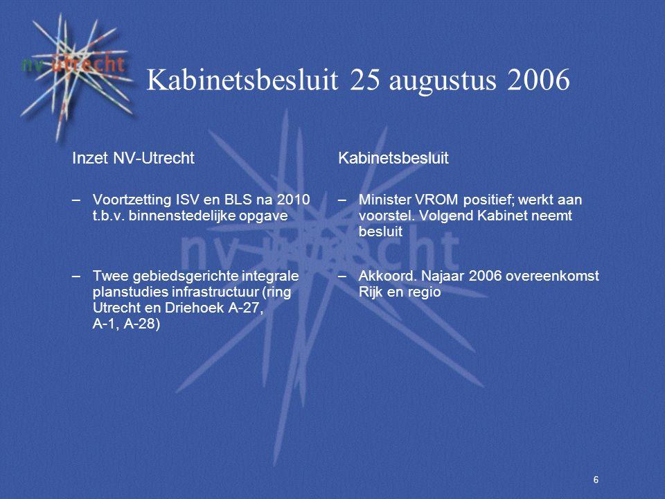 6 Kabinetsbesluit 25 augustus 2006 Inzet NV-Utrecht –Voortzetting ISV en BLS na 2010 t.b.v. binnenstedelijke opgave –Twee gebiedsgerichte integrale pl