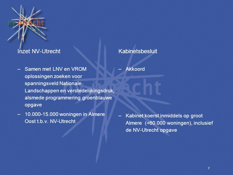 7 Inzet NV-Utrecht –Samen met LNV en VROM oplossingen zoeken voor spanningsveld Nationale Landschappen en verstedelijkingsdruk, alsmede programmering groenblauwe opgave –10.000-15.000 woningen in Almere Oost t.b.v.
