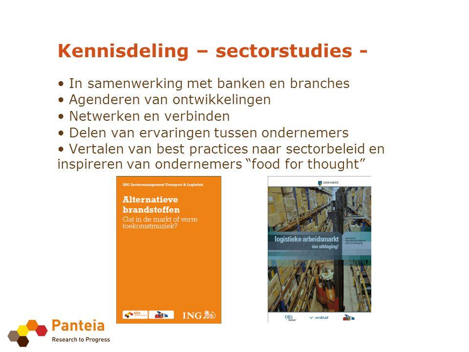 Kennisdeling – sectorstudies - In samenwerking met banken en branches Agenderen van ontwikkelingen Netwerken en verbinden Delen van ervaringen tussen ondernemers Vertalen van best practices naar sectorbeleid en inspireren van ondernemers food for thought