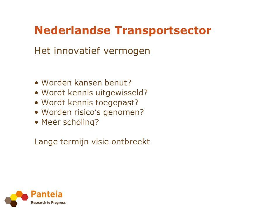 Nederlandse Transportsector Het innovatief vermogen Worden kansen benut.