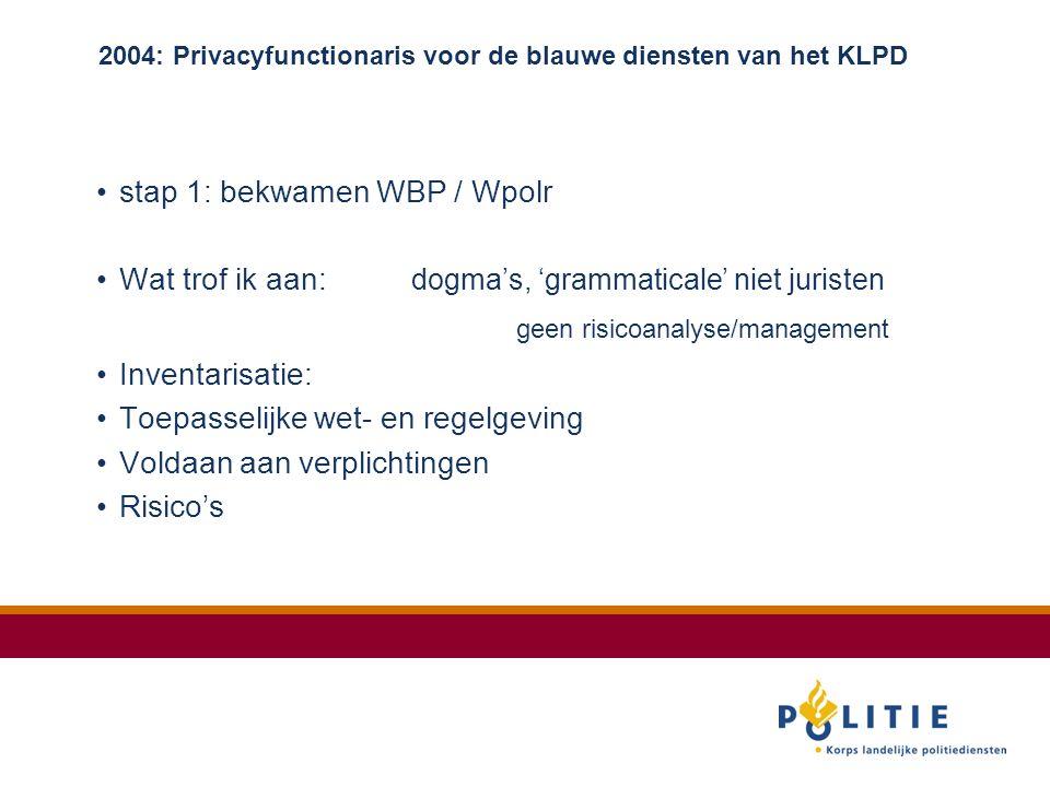 2004: Privacyfunctionaris voor de blauwe diensten van het KLPD stap 1: bekwamen WBP / Wpolr Wat trof ik aan: dogma's, 'grammaticale' niet juristen geen risicoanalyse/management Inventarisatie: Toepasselijke wet- en regelgeving Voldaan aan verplichtingen Risico's