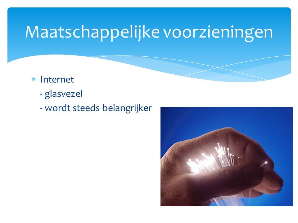  Internet - glasvezel - wordt steeds belangrijker Maatschappelijke voorzieningen