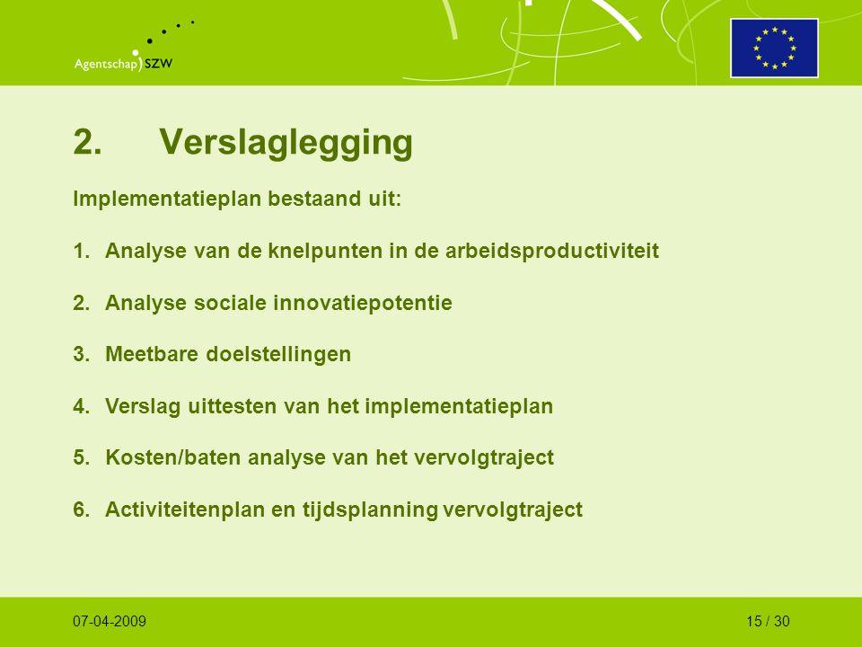 2.Verslaglegging Implementatieplan bestaand uit: 1.Analyse van de knelpunten in de arbeidsproductiviteit 2.