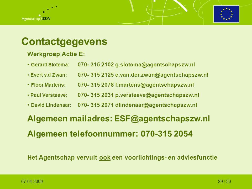 Contactgegevens Werkgroep Actie E: Gerard Slotema: 070- 315 2102 g.slotema@agentschapszw.nl Evert v.d Zwan: 070- 315 2125 e.van.der.zwan@agentschapszw.nl Floor Martens: 070- 315 2078 f.martens@agentschapszw.nl Paul Versteeve: 070- 315 2031 p.versteeve@agentschapszw.nl David Lindenaar: 070- 315 2071 dlindenaar@agentschapszw.nl Algemeen mailadres: ESF@agentschapszw.nl Algemeen telefoonnummer: 070-315 2054 Het Agentschap vervult ook een voorlichtings- en adviesfunctie 07-04-200929 / 30