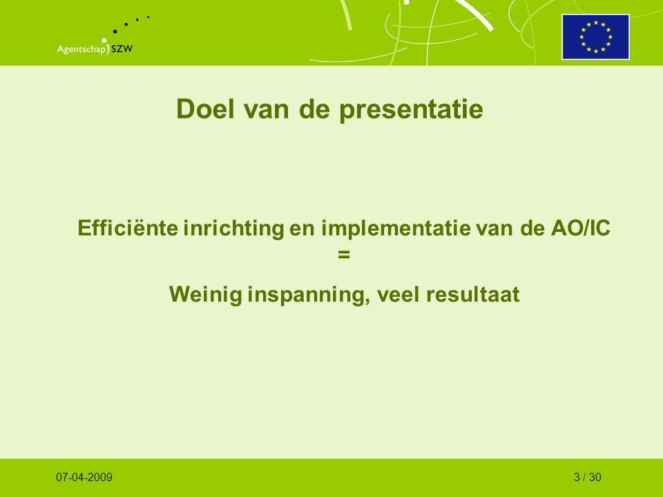 Doel van de presentatie Efficiënte inrichting en implementatie van de AO/IC = Weinig inspanning, veel resultaat 07-04-20093 / 30