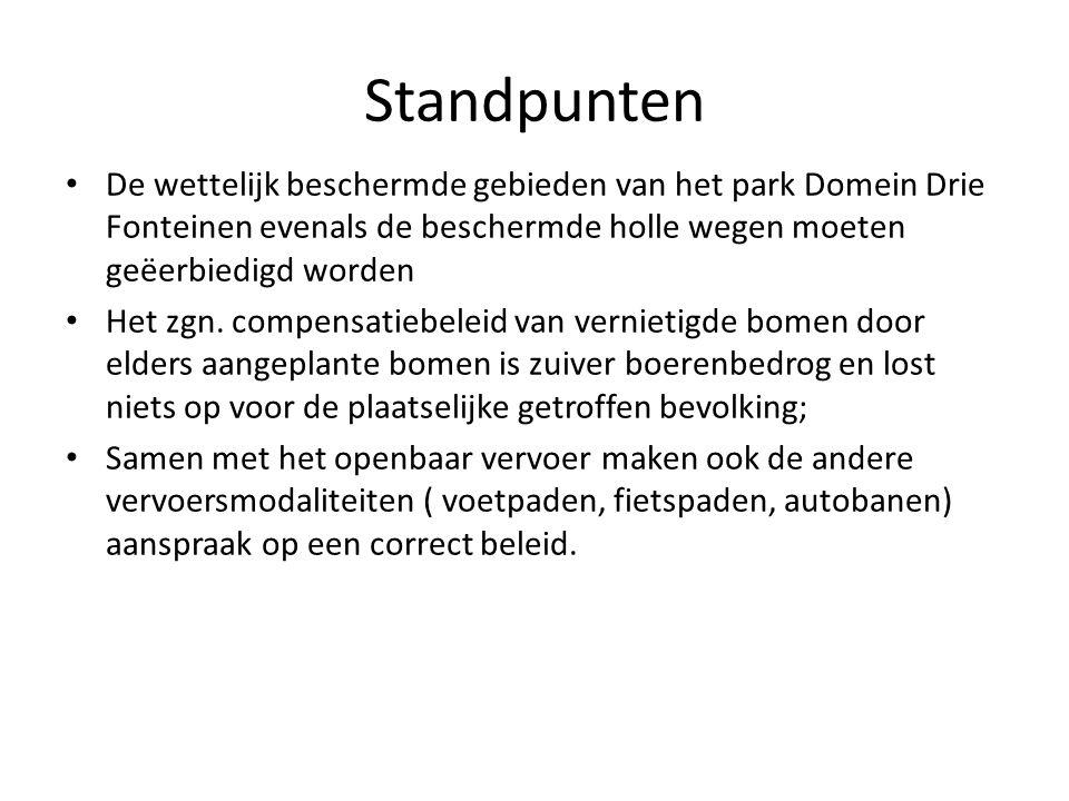 Standpunten De wettelijk beschermde gebieden van het park Domein Drie Fonteinen evenals de beschermde holle wegen moeten geëerbiedigd worden Het zgn.