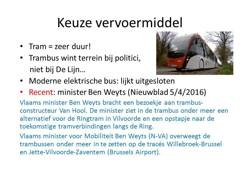 Keuze vervoermiddel Tram = zeer duur.
