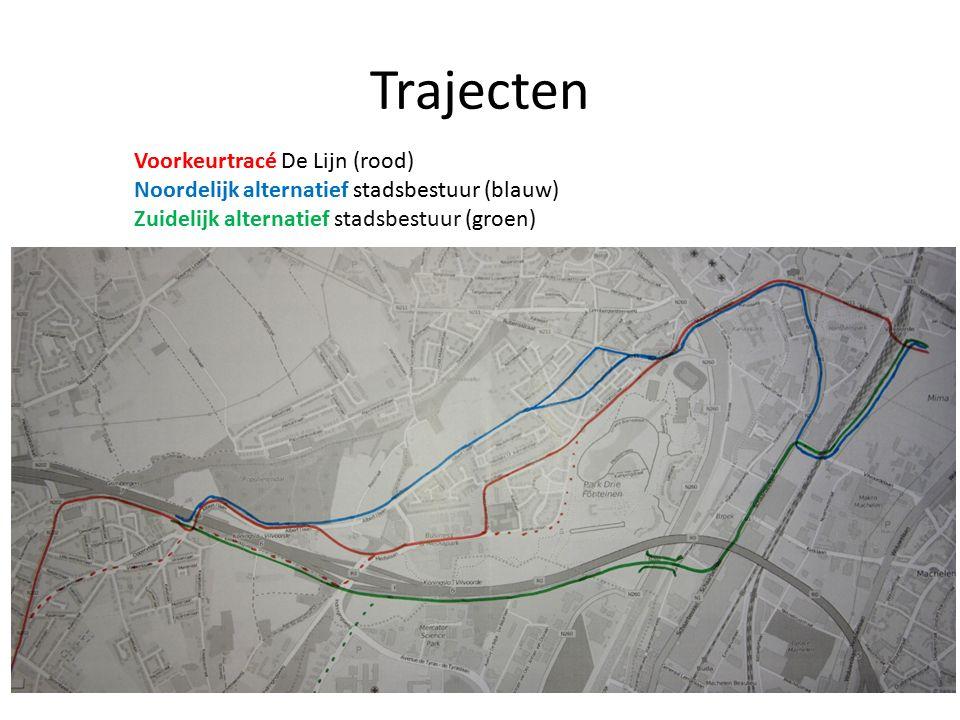 Trajecten Voorkeurtracé De Lijn (rood) Noordelijk alternatief stadsbestuur (blauw) Zuidelijk alternatief stadsbestuur (groen)