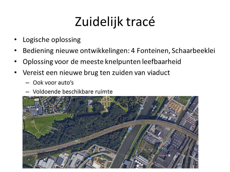Zuidelijk tracé Logische oplossing Bediening nieuwe ontwikkelingen: 4 Fonteinen, Schaarbeeklei Oplossing voor de meeste knelpunten leefbaarheid Vereist een nieuwe brug ten zuiden van viaduct – Ook voor auto's – Voldoende beschikbare ruimte