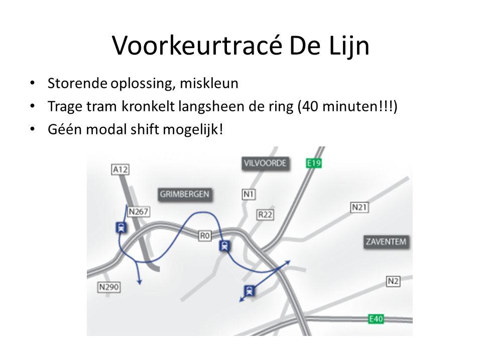 Voorkeurtracé De Lijn Storende oplossing, miskleun Trage tram kronkelt langsheen de ring (40 minuten!!!) Géén modal shift mogelijk!