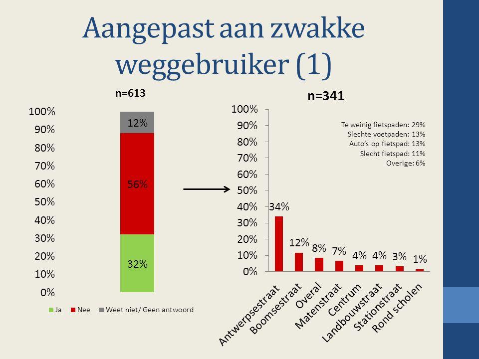 Aangepast aan zwakke weggebruiker (1) Te weinig fietspaden: 29% Slechte voetpaden: 13% Auto's op fietspad: 13% Slecht fietspad: 11% Overige: 6%