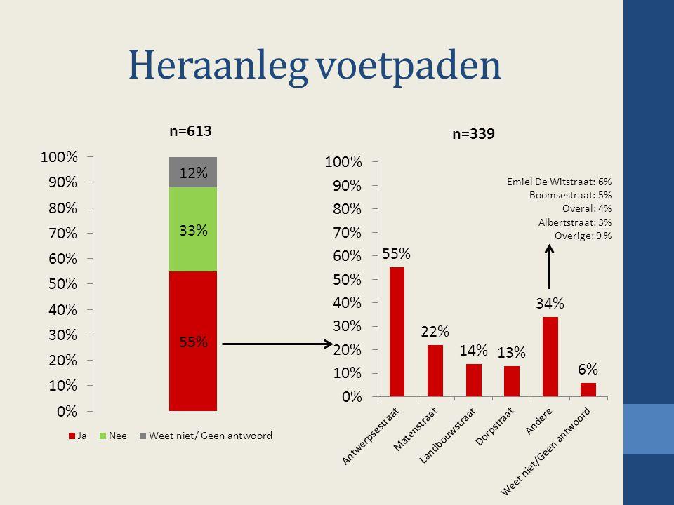 Heraanleg voetpaden Emiel De Witstraat: 6% Boomsestraat: 5% Overal: 4% Albertstraat: 3% Overige: 9 %