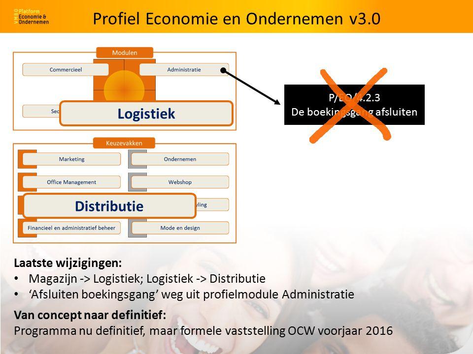 Magazijn Logistiek Logistiek Distributie Laatste wijzigingen: Magazijn -> Logistiek; Logistiek -> Distributie 'Afsluiten boekingsgang' weg uit profielmodule Administratie P/EO/4.2.3 De boekingsgang afsluiten Van concept naar definitief: Programma nu definitief, maar formele vaststelling OCW voorjaar 2016