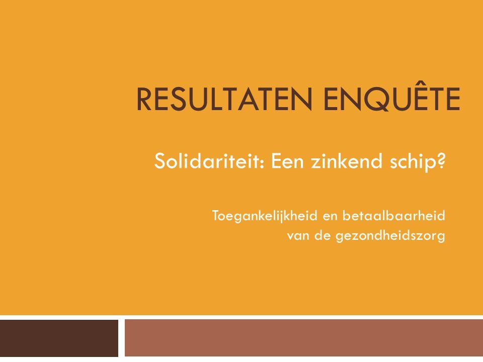 RESULTATEN ENQUÊTE Solidariteit: Een zinkend schip? Toegankelijkheid en betaalbaarheid van de gezondheidszorg