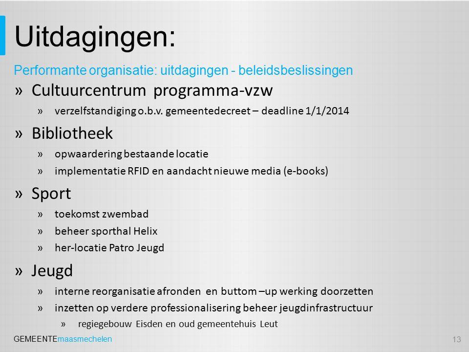 GEMEENTEmaasmechelen Uitdagingen: »Cultuurcentrum programma-vzw »verzelfstandiging o.b.v.