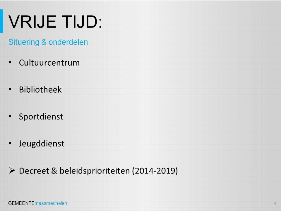 GEMEENTEmaasmechelen VRIJE TIJD: Cultuurcentrum Bibliotheek Sportdienst Jeugddienst  Decreet & beleidsprioriteiten (2014-2019) 4 Situering & onderdelen