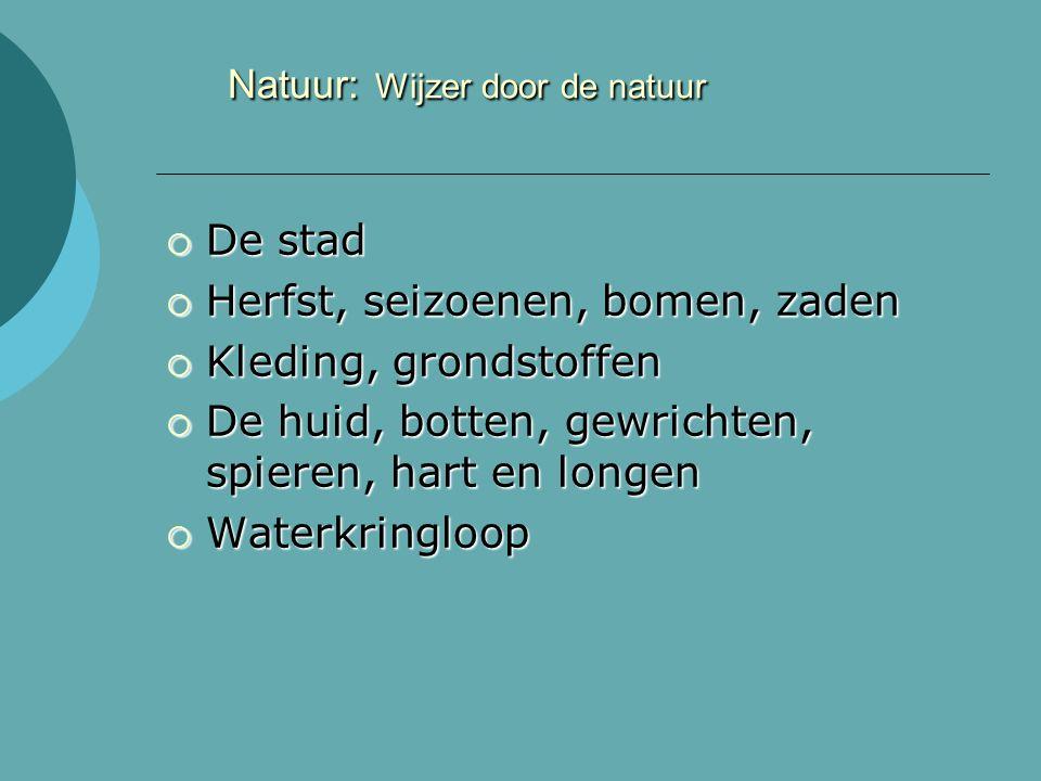 Natuur: Wijzer door de natuur  De stad  Herfst, seizoenen, bomen, zaden  Kleding, grondstoffen  De huid, botten, gewrichten, spieren, hart en longen  Waterkringloop