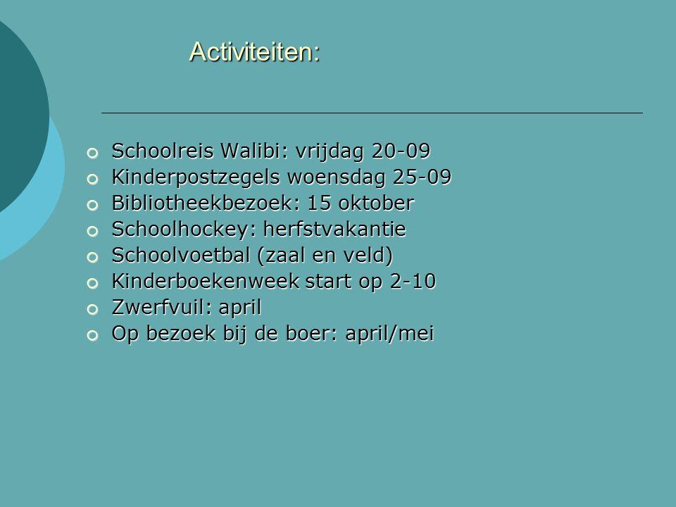 Activiteiten:  Schoolreis Walibi: vrijdag 20-09  Kinderpostzegels woensdag 25-09  Bibliotheekbezoek: 15 oktober  Schoolhockey: herfstvakantie  Schoolvoetbal (zaal en veld)  Kinderboekenweek start op 2-10  Zwerfvuil: april  Op bezoek bij de boer: april/mei