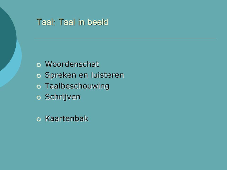 Taal: Taal in beeld  Woordenschat  Spreken en luisteren  Taalbeschouwing  Schrijven  Kaartenbak