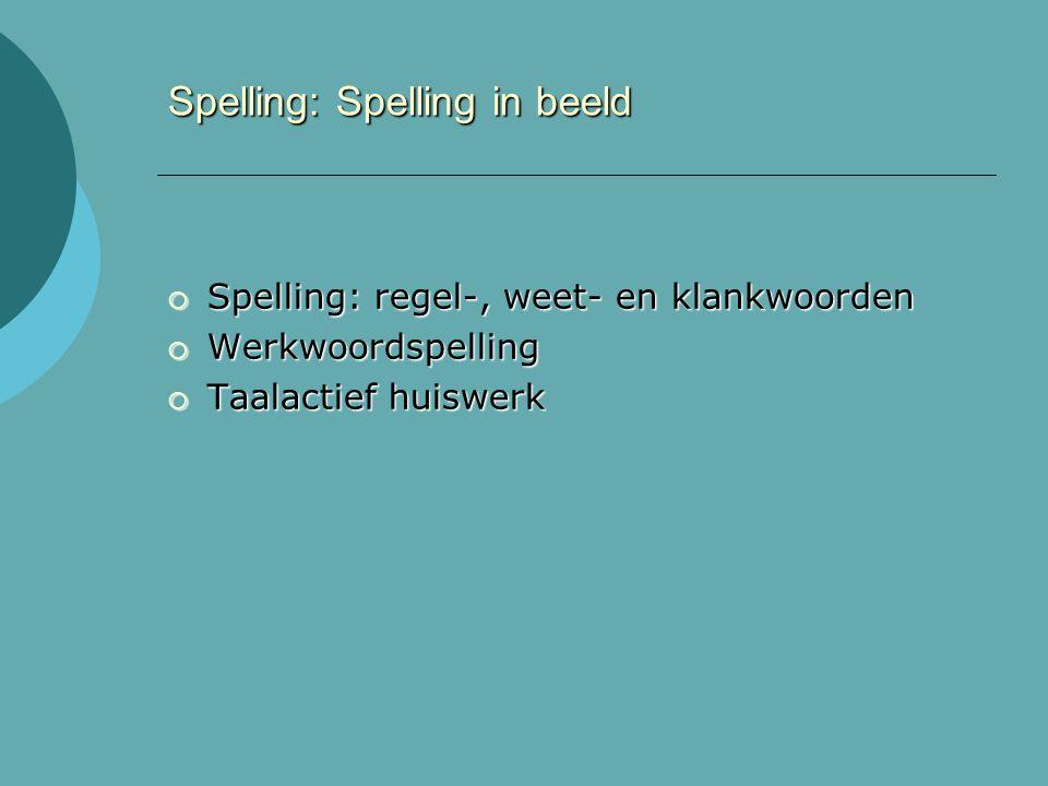 Spelling: Spelling in beeld  Spelling: regel-, weet- en klankwoorden  Werkwoordspelling  Taalactief huiswerk
