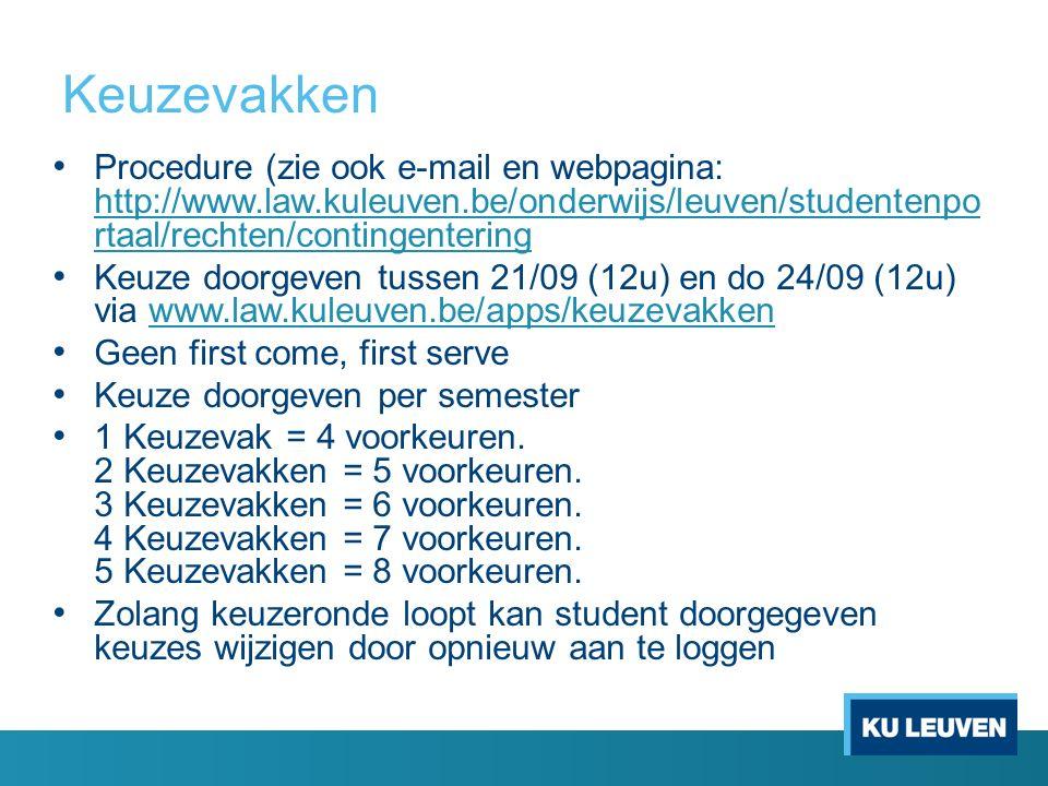 Keuzevakken Procedure (zie ook e-mail en webpagina: http://www.law.kuleuven.be/onderwijs/leuven/studentenpo rtaal/rechten/contingentering http://www.l