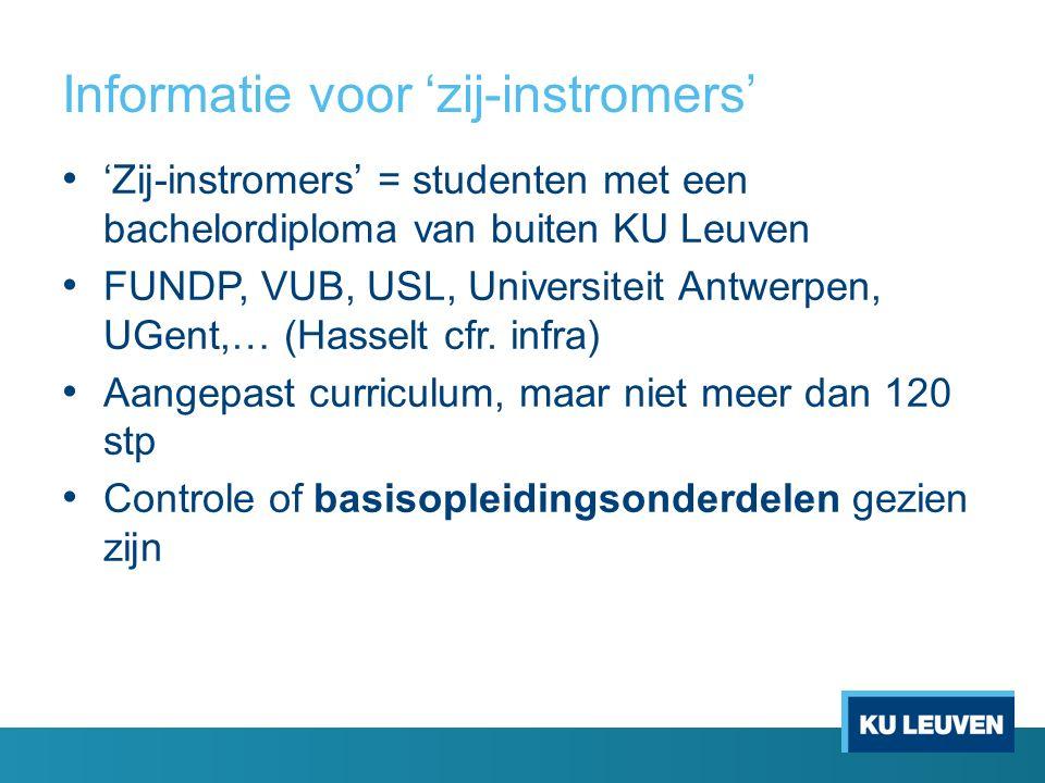 Informatie voor 'zij-instromers' 'Zij-instromers' = studenten met een bachelordiploma van buiten KU Leuven FUNDP, VUB, USL, Universiteit Antwerpen, UG