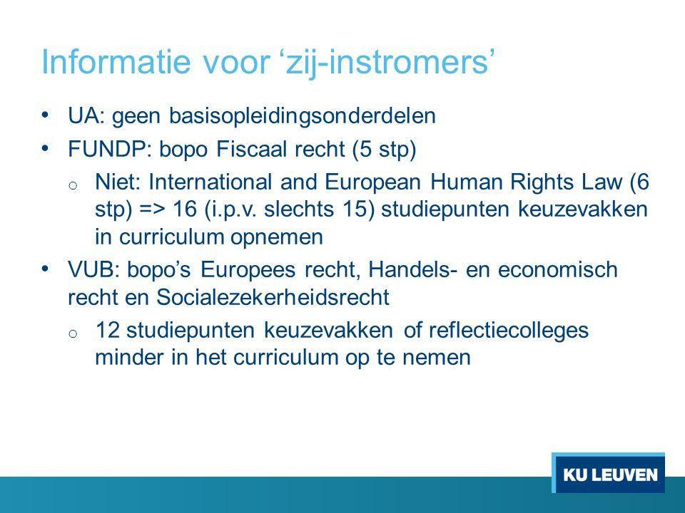 Informatie voor 'zij-instromers' UA: geen basisopleidingsonderdelen FUNDP: bopo Fiscaal recht (5 stp) o Niet: International and European Human Rights