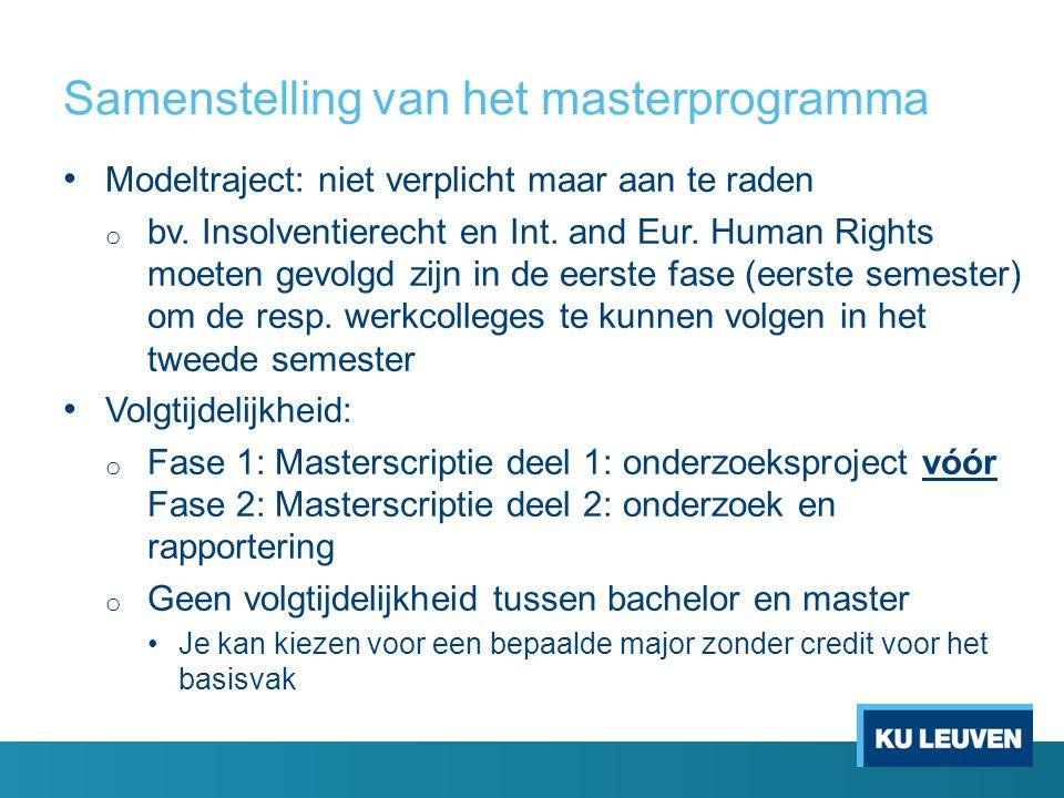 Samenstelling van het masterprogramma Modeltraject: niet verplicht maar aan te raden o bv. Insolventierecht en Int. and Eur. Human Rights moeten gevol