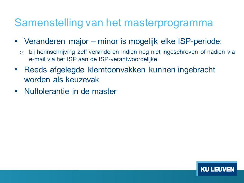 Samenstelling van het masterprogramma Veranderen major – minor is mogelijk elke ISP-periode: o bij herinschrijving zelf veranderen indien nog niet ing