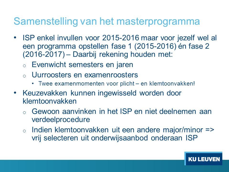 Samenstelling van het masterprogramma ISP enkel invullen voor 2015-2016 maar voor jezelf wel al een programma opstellen fase 1 (2015-2016) én fase 2 (2016-2017) – Daarbij rekening houden met: o Evenwicht semesters en jaren o Uurroosters en examenroosters Twee examenmomenten voor plicht – en klemtoonvakken.