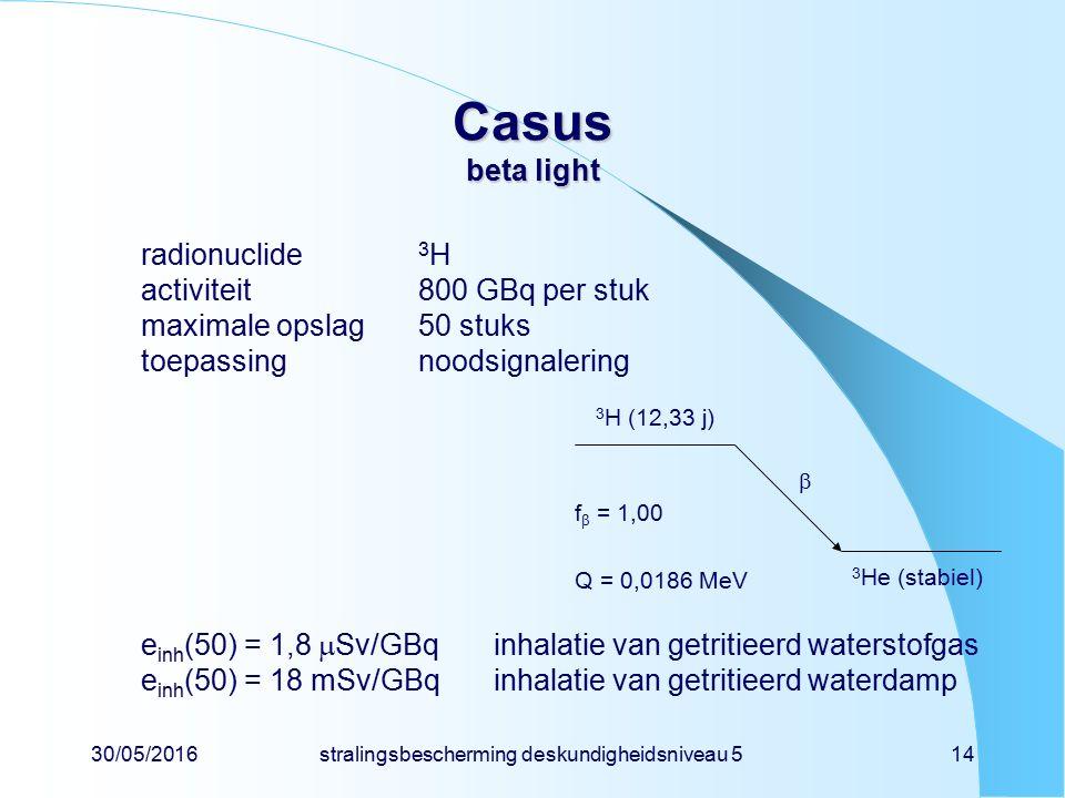 30/05/2016stralingsbescherming deskundigheidsniveau 514 Casus beta light radionuclide 3 H activiteit800 GBq per stuk maximale opslag50 stuks toepassingnoodsignalering e inh (50) = 1,8  Sv/GBqinhalatie van getritieerd waterstofgas e inh (50) = 18 mSv/GBqinhalatie van getritieerd waterdamp 3 H (12,33 j) 3 He (stabiel) f  = 1,00 Q = 0,0186 MeV 