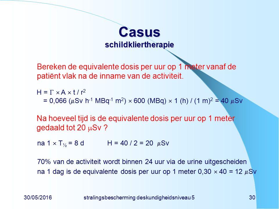 30/05/2016stralingsbescherming deskundigheidsniveau 530 Casus schildkliertherapie Bereken de equivalente dosis per uur op 1 meter vanaf de patiënt vlak na de inname van de activiteit.
