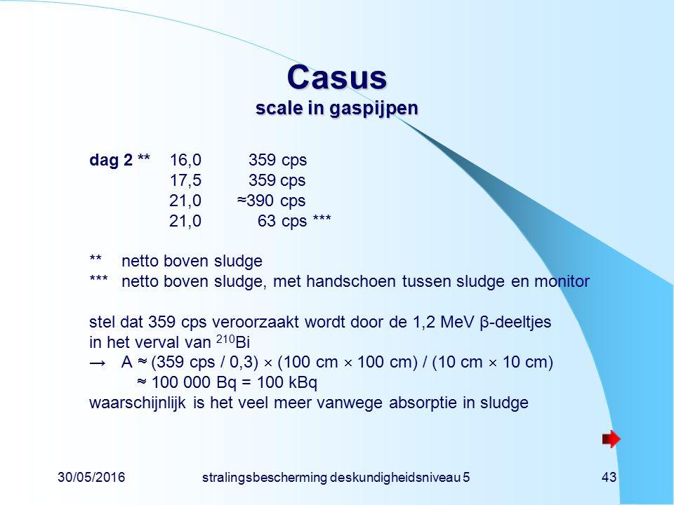 30/05/2016stralingsbescherming deskundigheidsniveau 543 Casus scale in gaspijpen dag 2 **16,0359 cps 17,5359cps 21,0 ≈390cps 21,0 63 cps *** **netto boven sludge ***netto boven sludge, met handschoen tussen sludge en monitor stel dat 359 cps veroorzaakt wordt door de 1,2 MeV β-deeltjes in het verval van 210 Bi →A  (359 cps / 0,3)  (100 cm  100 cm) / (10 cm  10 cm)  100 000 Bq = 100 kBq waarschijnlijk is het veel meer vanwege absorptie in sludge