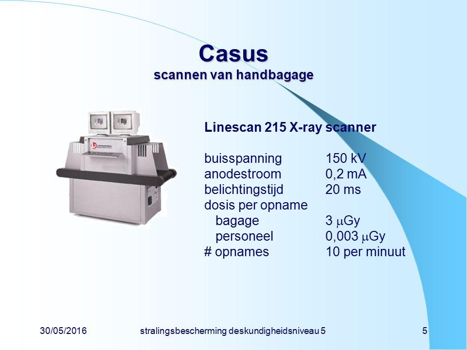 30/05/2016stralingsbescherming deskundigheidsniveau 55 Casus scannen van handbagage Linescan 215 X-ray scanner buisspanning150 kV anodestroom0,2 mA belichtingstijd20 ms dosis per opname bagage3  Gy personeel0,003  Gy # opnames10 per minuut