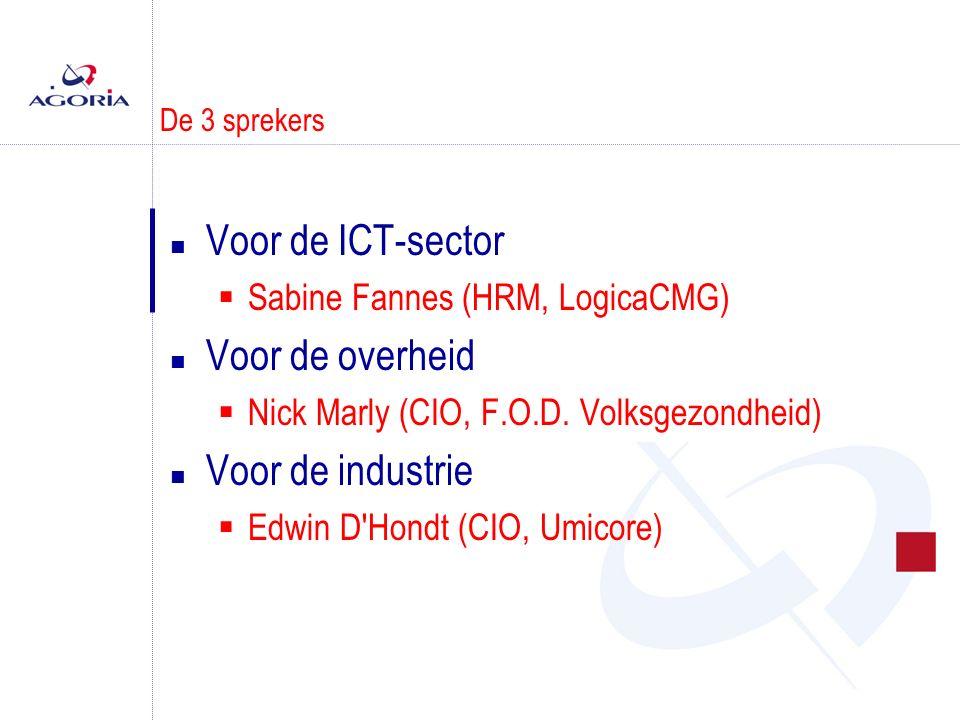 De 3 sprekers n Voor de ICT-sector  Sabine Fannes (HRM, LogicaCMG) n Voor de overheid  Nick Marly (CIO, F.O.D.