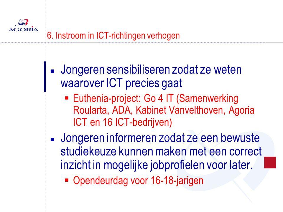 6. Instroom in ICT-richtingen verhogen n Jongeren sensibiliseren zodat ze weten waarover ICT precies gaat  Euthenia-project: Go 4 IT (Samenwerking Ro