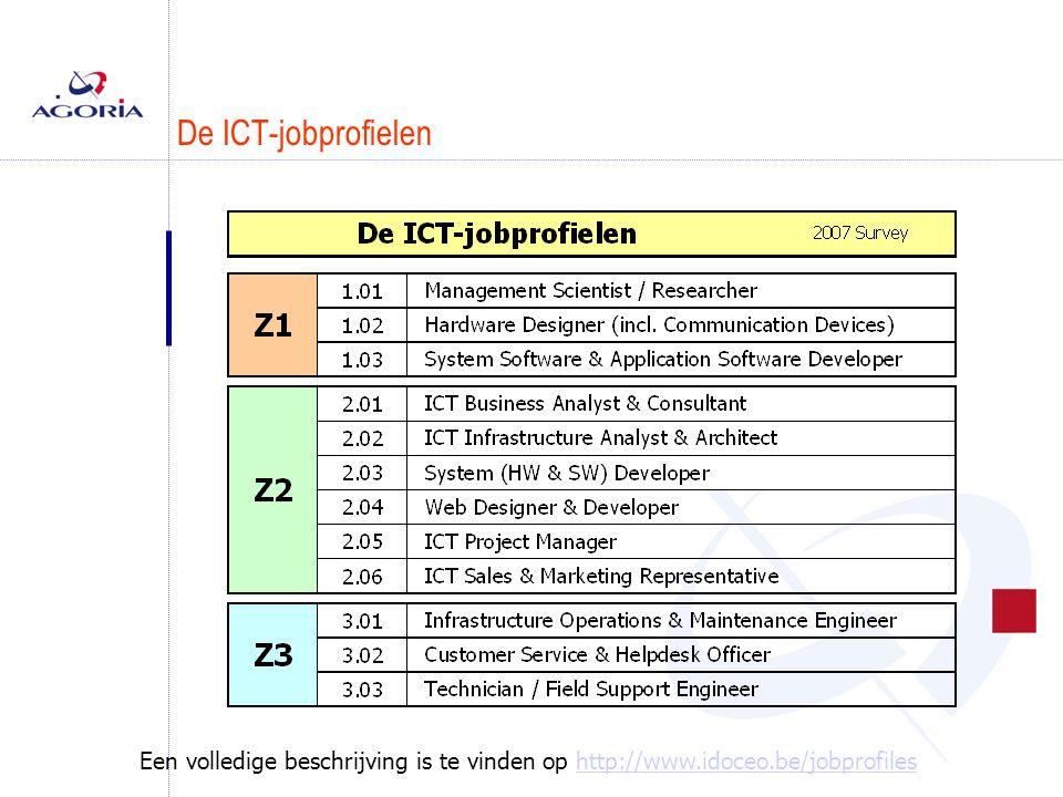Conclusies van de enquête 2007 n De resultaten van de enquête 2007  De ICT-a rbeidsmarkt = 141.000 personen Arbeidsmarkt bestaat uit 4 segmenten overheid, industrie, diensten & ICT-sector  14.000 vacatures  Top-3 van de vraag naar profielen ICT Business Analyst & Consultant ICT Infrastructure Analyst & Architect System Developer