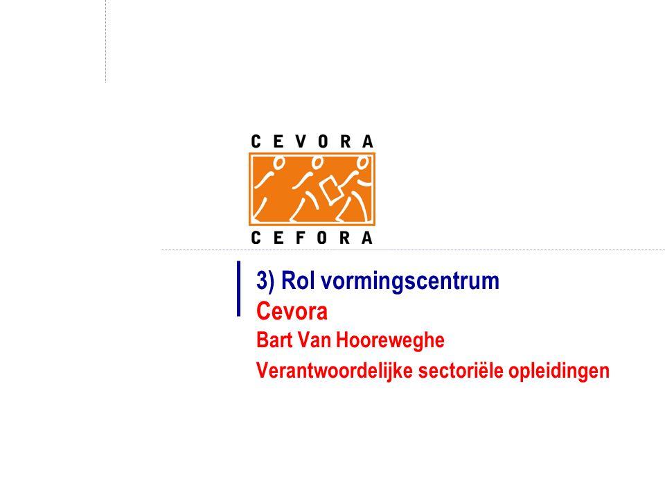 3) Rol vormingscentrum Cevora Bart Van Hooreweghe Verantwoordelijke sectoriële opleidingen