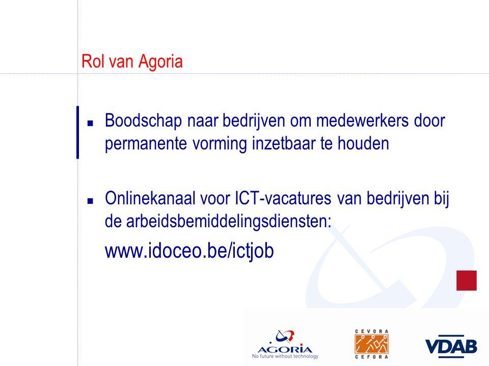 Rol van Agoria n Boodschap naar bedrijven om medewerkers door permanente vorming inzetbaar te houden n Onlinekanaal voor ICT-vacatures van bedrijven b