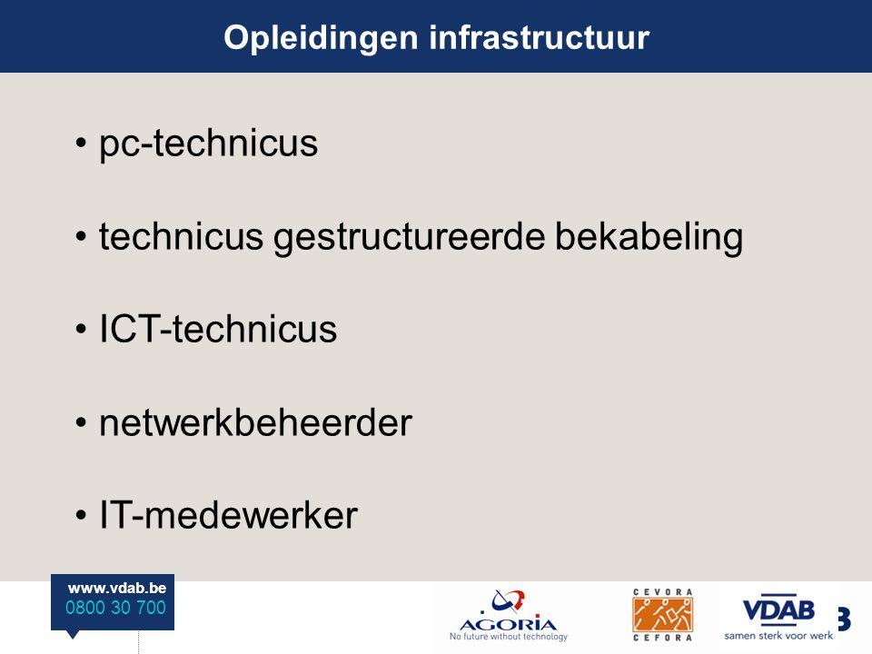www.vdab.be 0800 30 700 Opleidingen infrastructuur pc-technicus technicus gestructureerde bekabeling ICT-technicus netwerkbeheerder IT-medewerker
