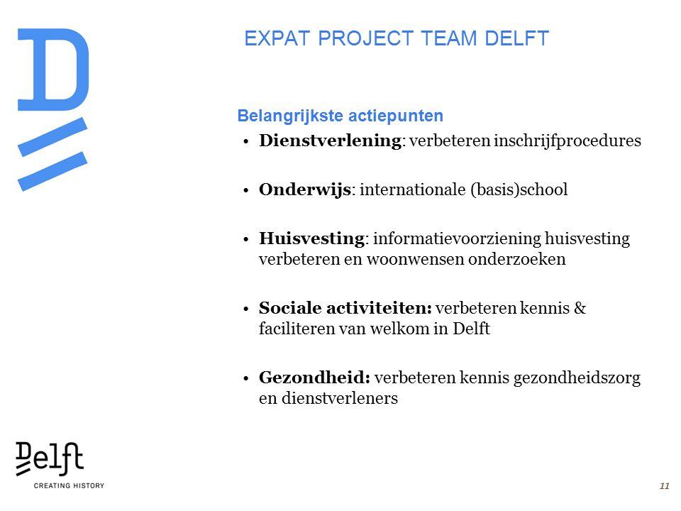 EXPAT PROJECT TEAM DELFT Belangrijkste actiepunten Dienstverlening: verbeteren inschrijfprocedures Onderwijs: internationale (basis)school Huisvesting: informatievoorziening huisvesting verbeteren en woonwensen onderzoeken Sociale activiteiten: verbeteren kennis & faciliteren van welkom in Delft Gezondheid: verbeteren kennis gezondheidszorg en dienstverleners 11