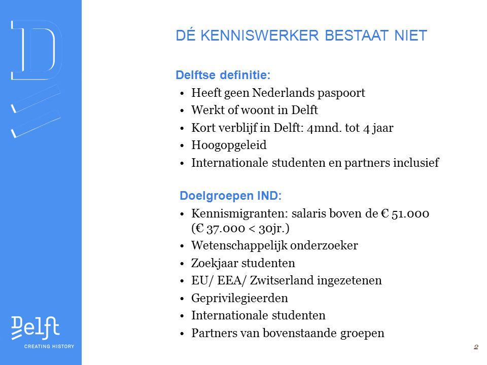 2 Delftse definitie: Heeft geen Nederlands paspoort Werkt of woont in Delft Kort verblijf in Delft: 4mnd.