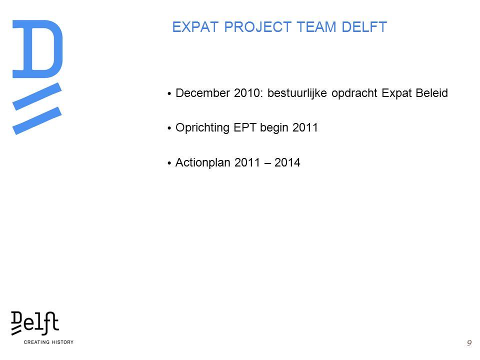 EXPAT PROJECT TEAM DELFT December 2010: bestuurlijke opdracht Expat Beleid Oprichting EPT begin 2011 Actionplan 2011 – 2014 9