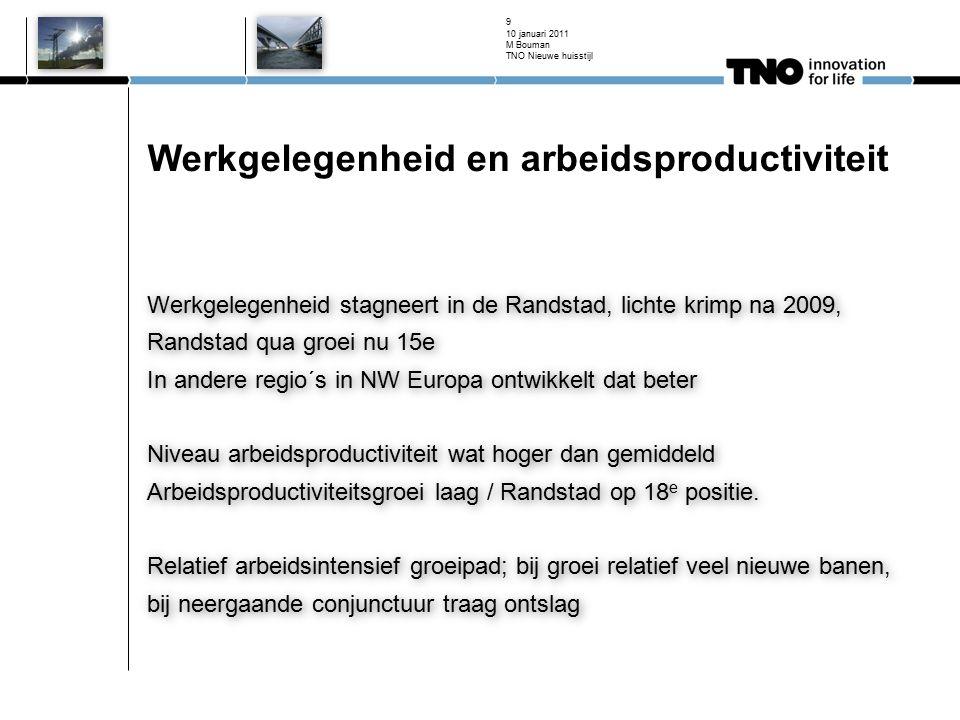 Werkgelegenheid en arbeidsproductiviteit Werkgelegenheid stagneert in de Randstad, lichte krimp na 2009, Randstad qua groei nu 15e In andere regio´s i