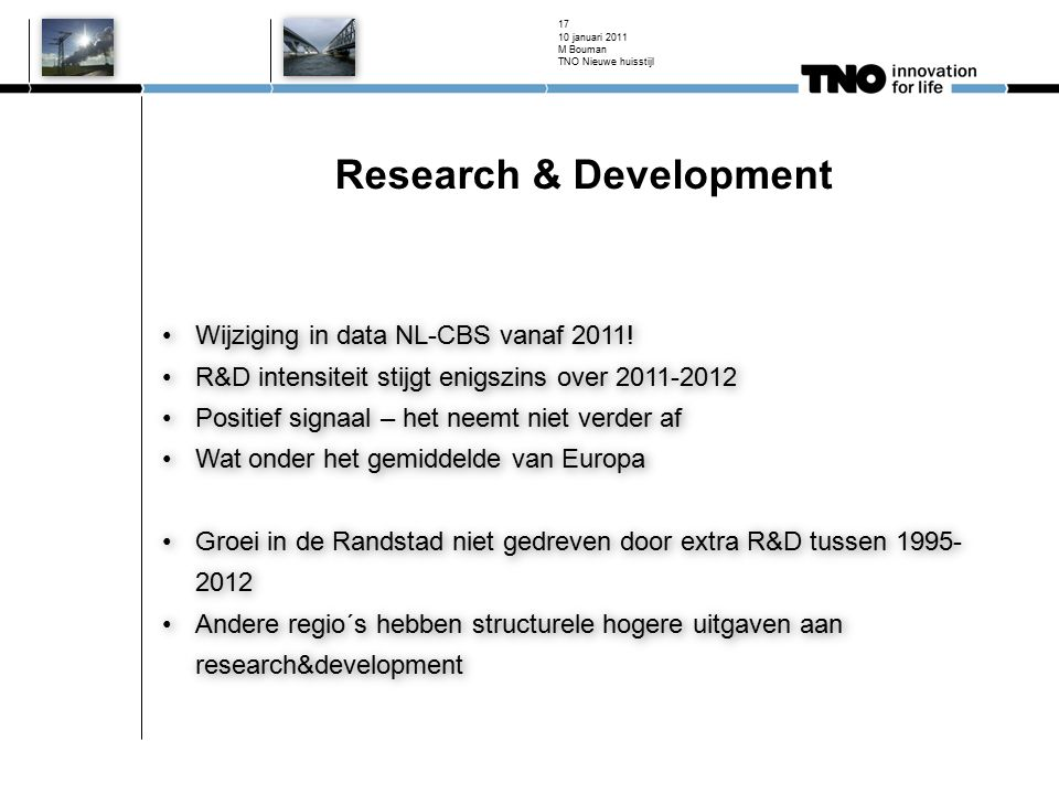 Research & Development Wijziging in data NL-CBS vanaf 2011.