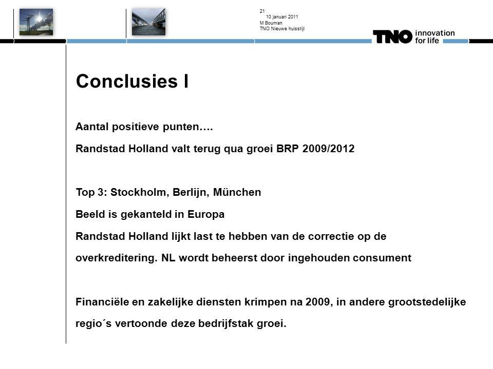 Conclusies l Aantal positieve punten…. Randstad Holland valt terug qua groei BRP 2009/2012 Top 3: Stockholm, Berlijn, München Beeld is gekanteld in Eu