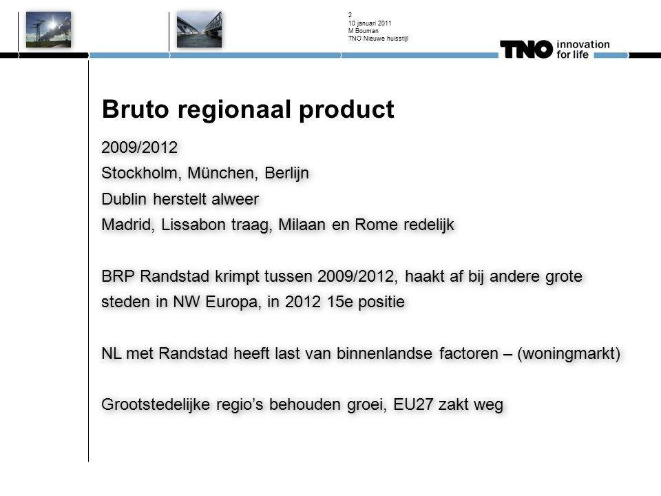 Bruto regionaal product 2009/2012 Stockholm, München, Berlijn Dublin herstelt alweer Madrid, Lissabon traag, Milaan en Rome redelijk BRP Randstad krim