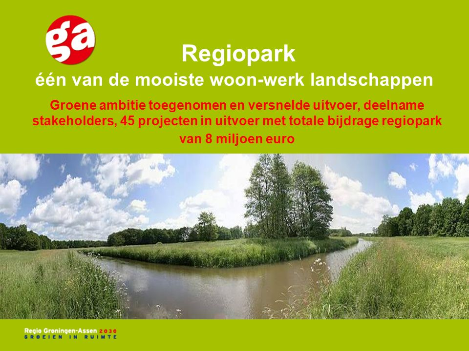 Groene ambitie toegenomen en versnelde uitvoer, deelname stakeholders, 45 projecten in uitvoer met totale bijdrage regiopark van 8 miljoen euro Regiopark één van de mooiste woon-werk landschappen