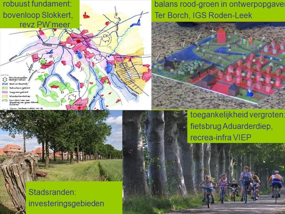 balans rood-groen in ontwerpopgaven: Ter Borch, IGS Roden-Leek Stadsranden: investeringsgebieden robuust fundament: bovenloop Slokkert, revz PW'meer toegankelijkheid vergroten: fietsbrug Aduarderdiep, recrea-infra VIEP