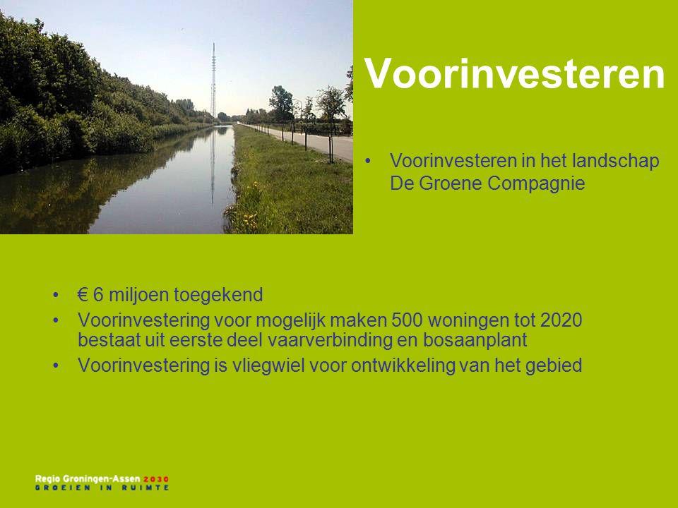 Voorinvesteren € 6 miljoen toegekend Voorinvestering voor mogelijk maken 500 woningen tot 2020 bestaat uit eerste deel vaarverbinding en bosaanplant Voorinvestering is vliegwiel voor ontwikkeling van het gebied Voorinvesteren in het landschap De Groene Compagnie